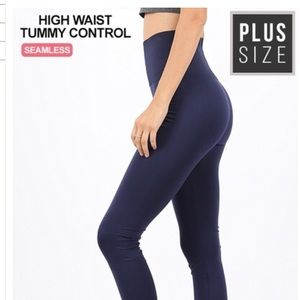Plus Tummy Control Seamless Nylon Navy Leggings